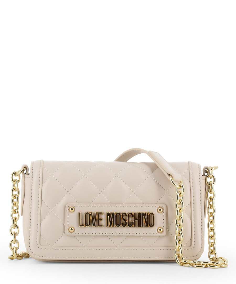 pale pink faux-leather shoulder bag Sale - love moschino