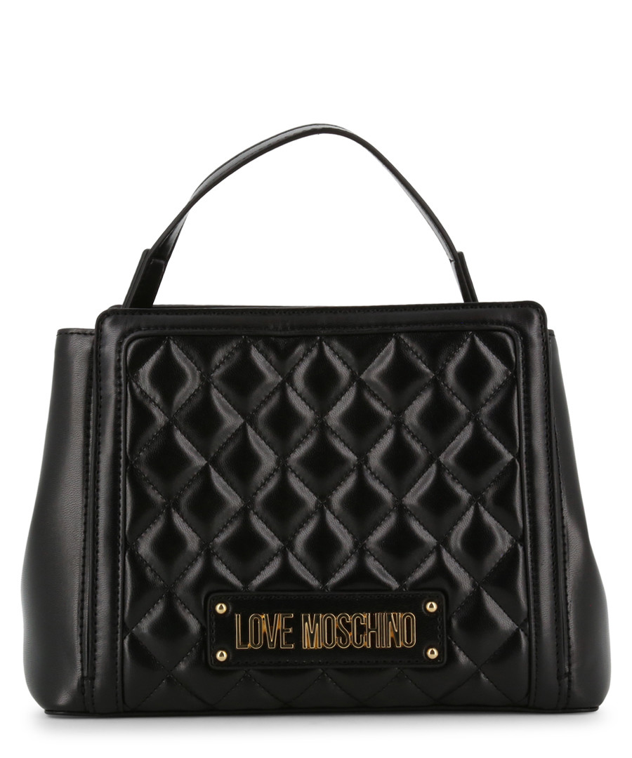 black faux-leather quilt grab bag Sale - love moschino
