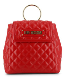 red faux-leather quilt backpack