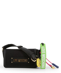 black faux-leather charm crossbody