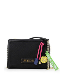black fabric square charm crossbody bag