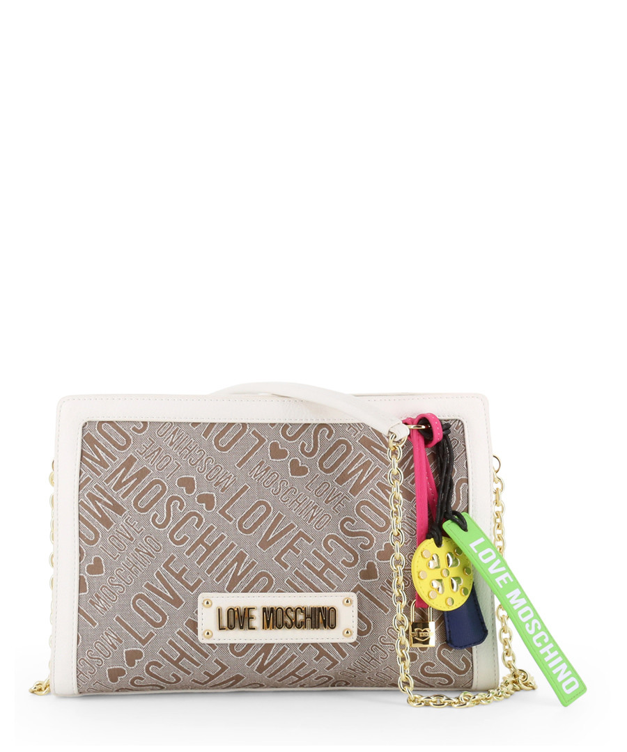 taupe fabric square charm crossbody bag  Sale - love moschino