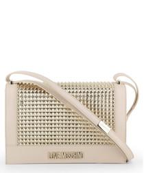 cream & gold-tone stud shoulder bag