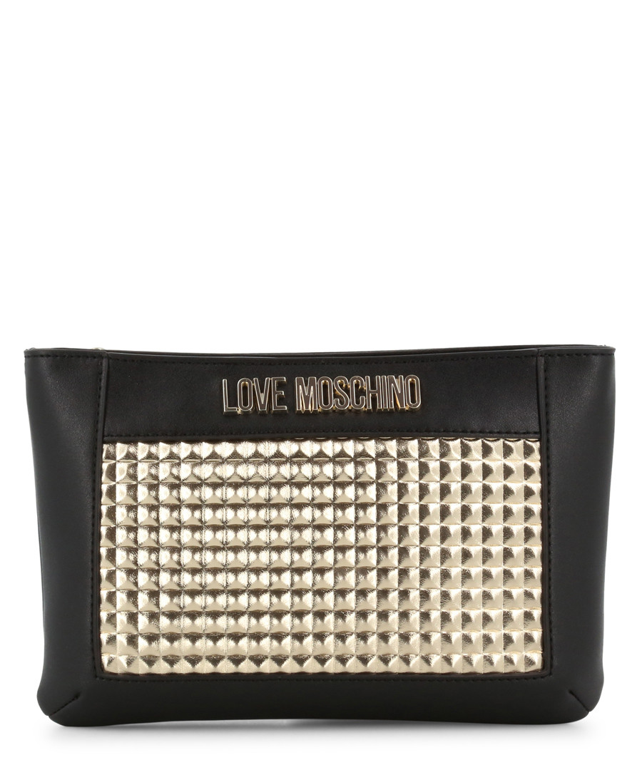 black faux-leather & gold-tone crossbody Sale - love moschino