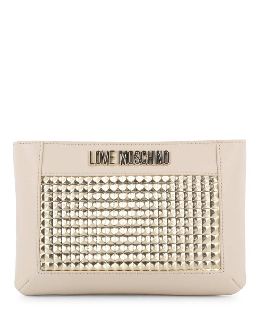 cream faux-leather & gold-tone crossbody Sale - love moschino