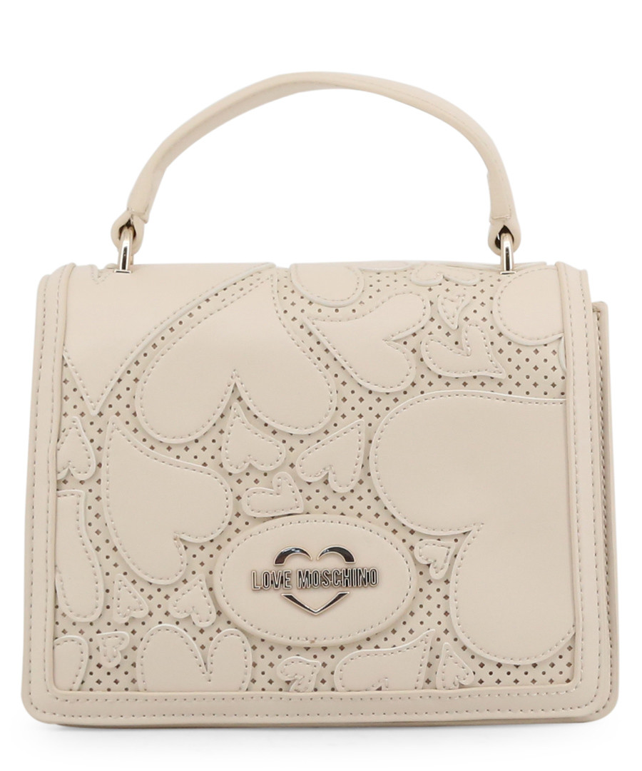 cream faux-leather hearts shoulder bag Sale - love moschino