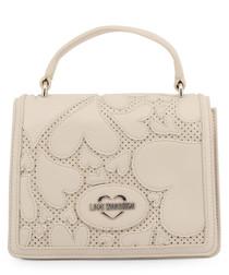 cream faux-leather hearts shoulder bag