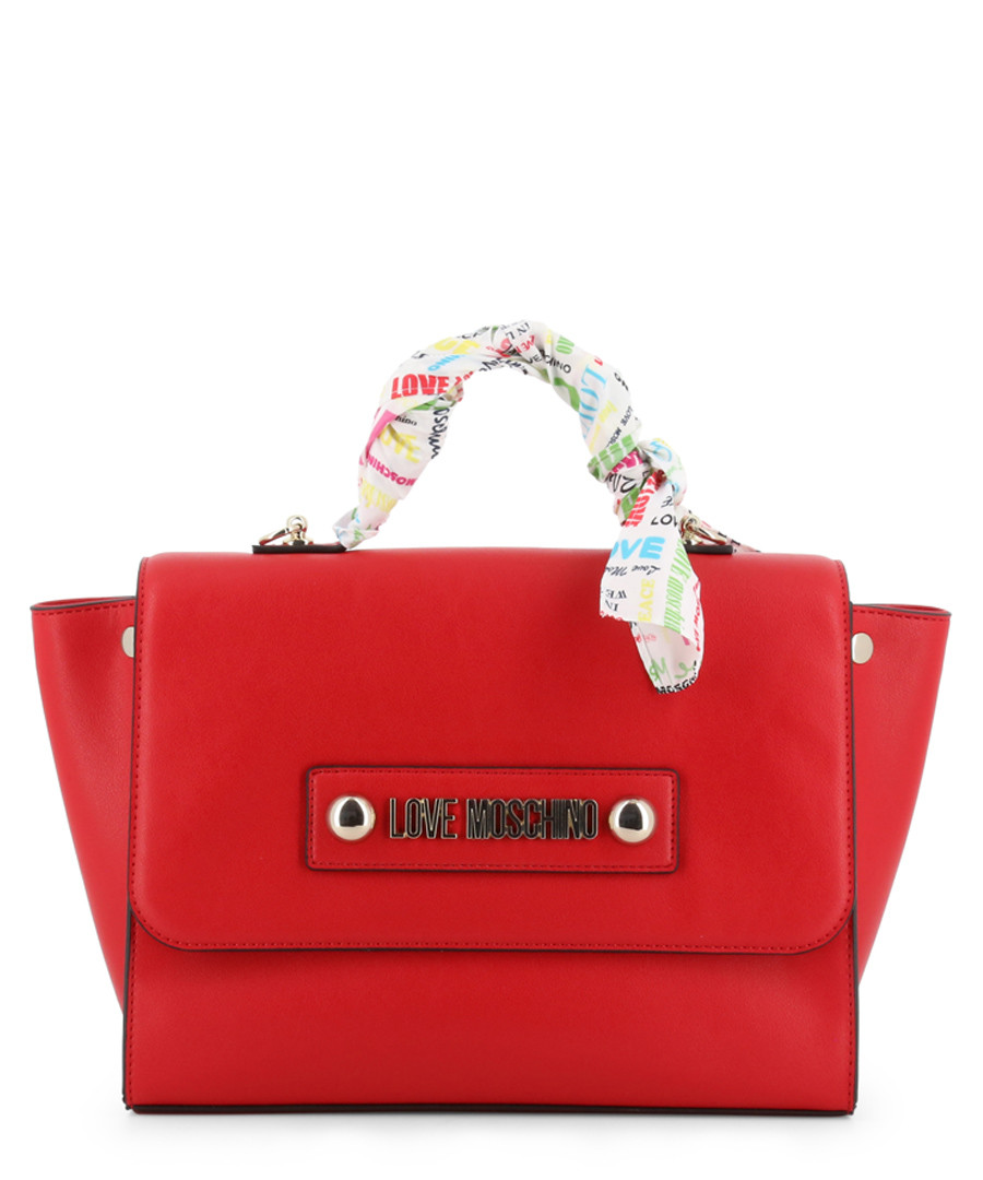 red faux-leather ribbon grab bag Sale - love moschino