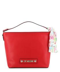 red faux-leather ribbon shoulder bag
