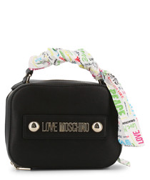 black faux-leather ribbon crossbody
