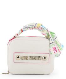 white faux-leather ribbon shoulder bag
