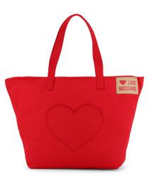 red fabric heart patch shopper bag