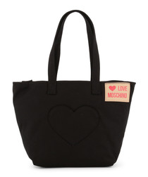 black fabric heart patch tote bag