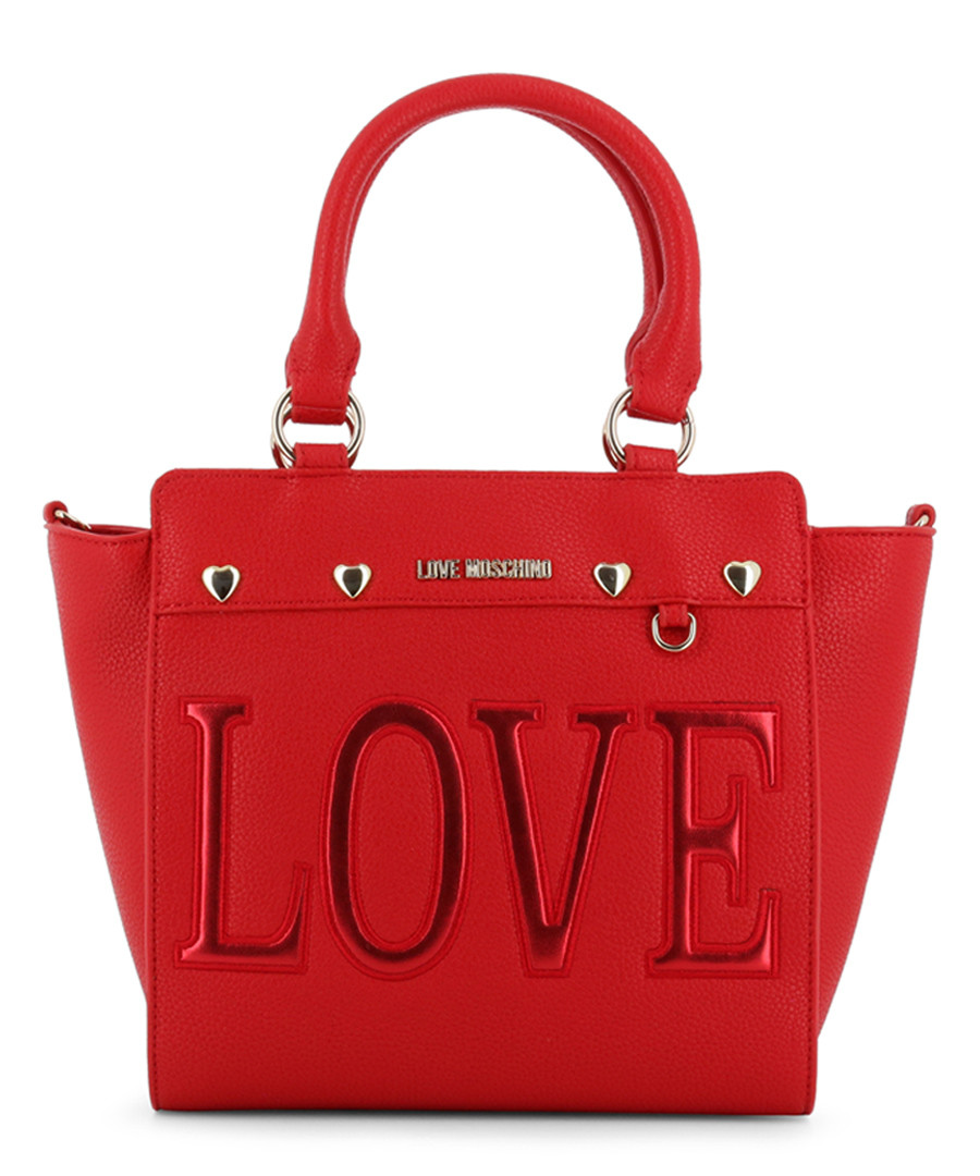Love red faux-leather tote bag Sale - love moschino