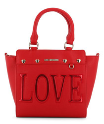 Love red faux-leather tote bag