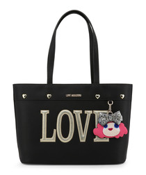 Love black faux-leather shopper bag
