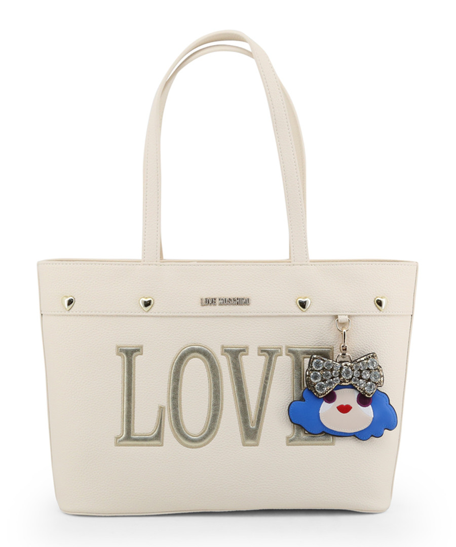 Love cream faux-leather charm shopper Sale - love moschino