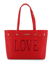 Love red faux-leather shopper bag