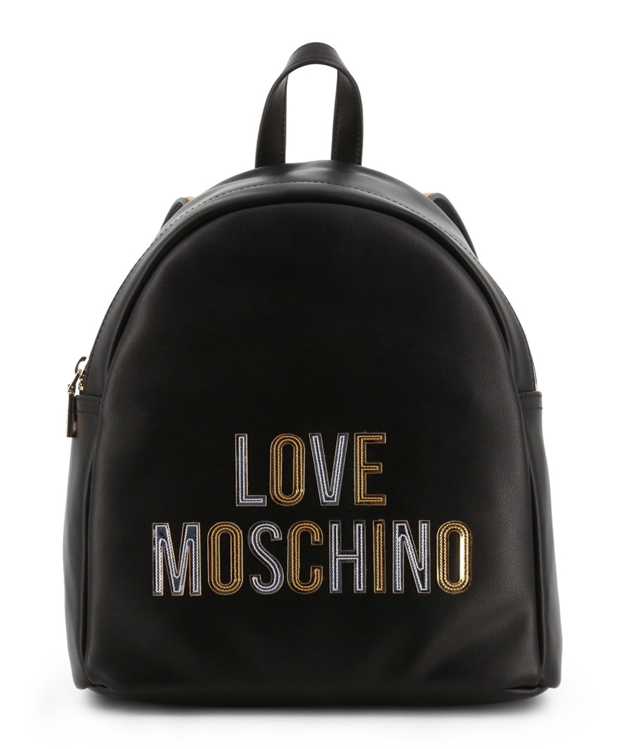 black faux-leather logo backpack Sale - Love Moschino
