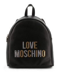 black faux-leather logo backpack