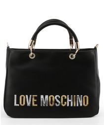 black faux-leather logo grab bag