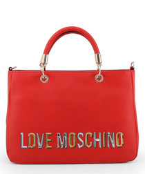 red faux-leather logo grab bag