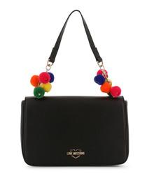 black faux-leather pompom shoulder bag