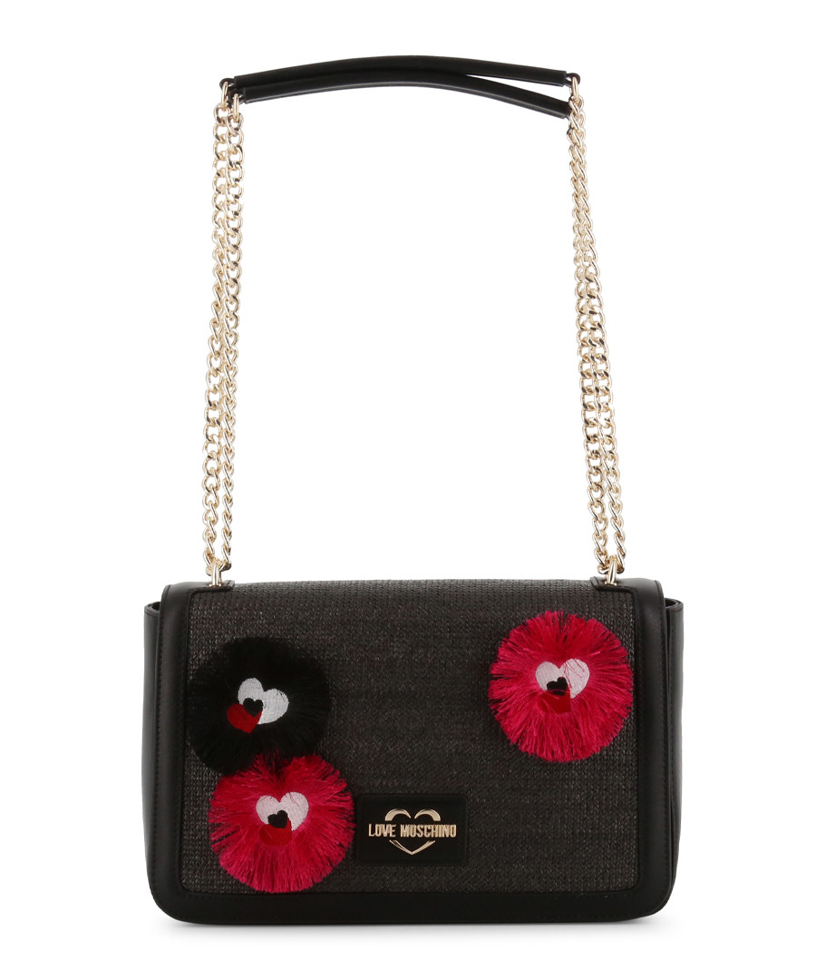 black fabric character shoulder bag Sale - love moschino