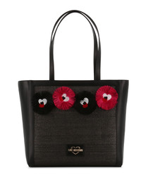 black fabric character tote