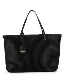 black faux-leather tile shopper