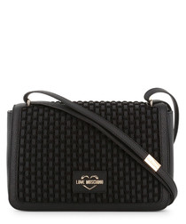 black faux-leather brick crossbody bag
