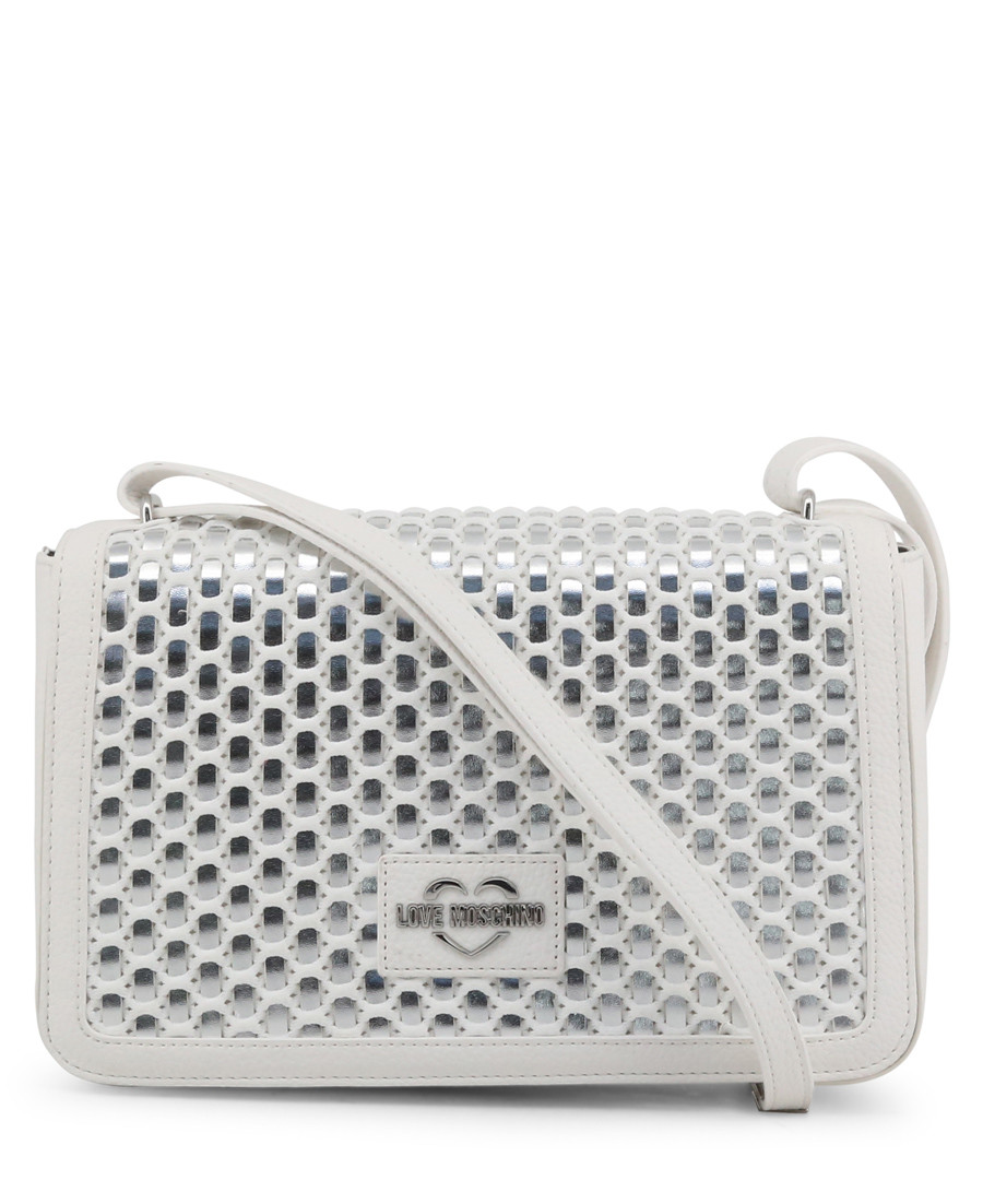 silver-tone faux-leather crossbody bag Sale - love moschino