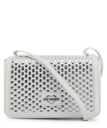 silver-tone faux-leather crossbody bag