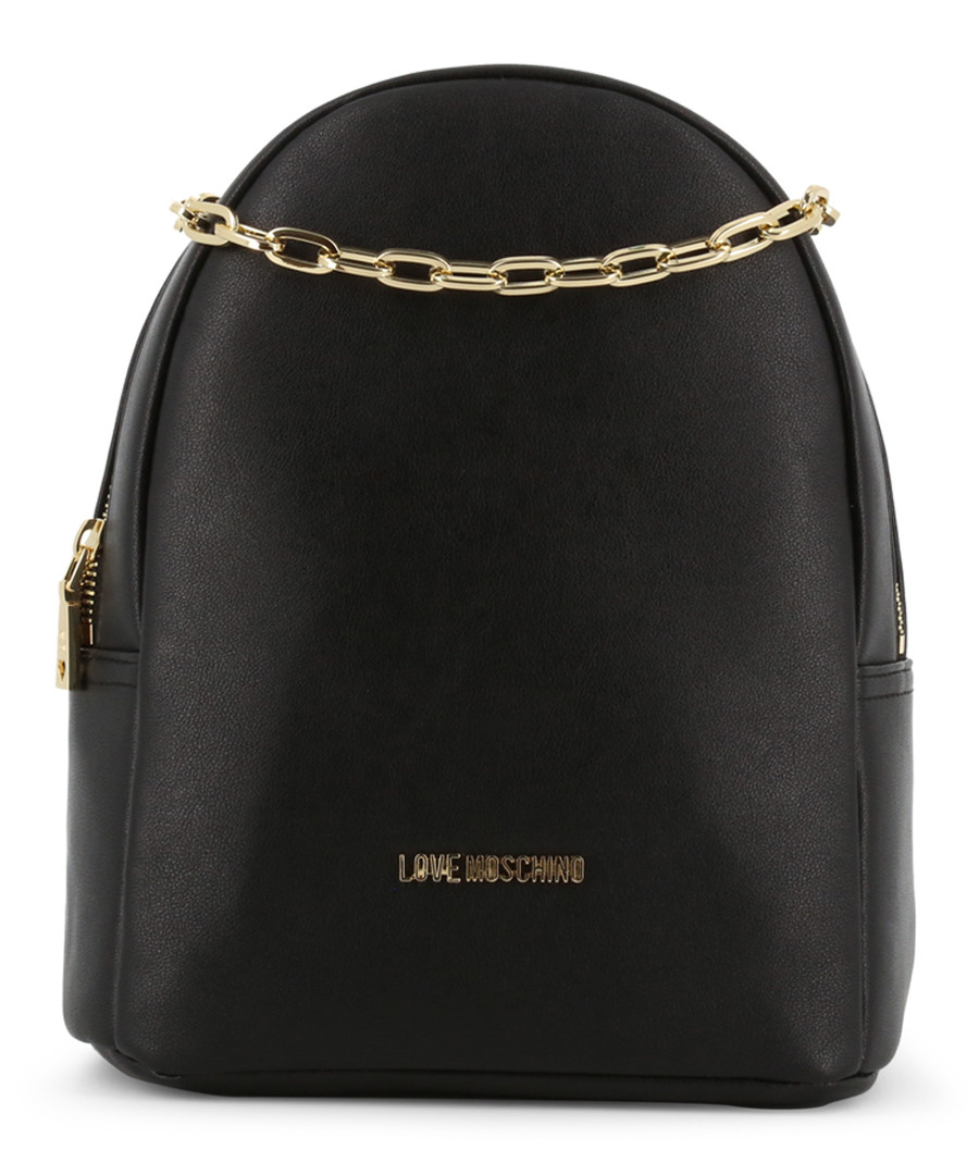 chain black leather backpack Sale - love moschino
