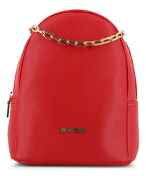 chain red leather backpack