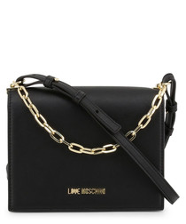 chain black faux-leather crossbody