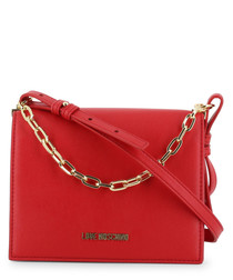 chain red faux-leather crossbody