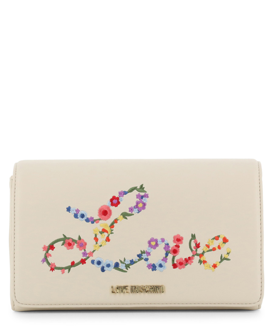 Love cream fabric floral shoulder bag Sale - love moschino