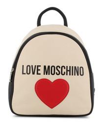 cream fabric heart backpack