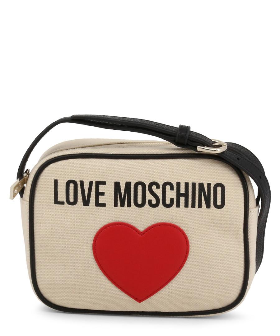 cream fabric heart crossbody bag  Sale - love moschino