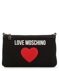 black fabric heart crossbody bag
