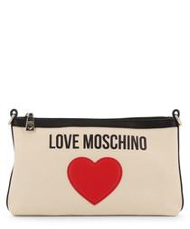 cream fabric heart crossbody bag