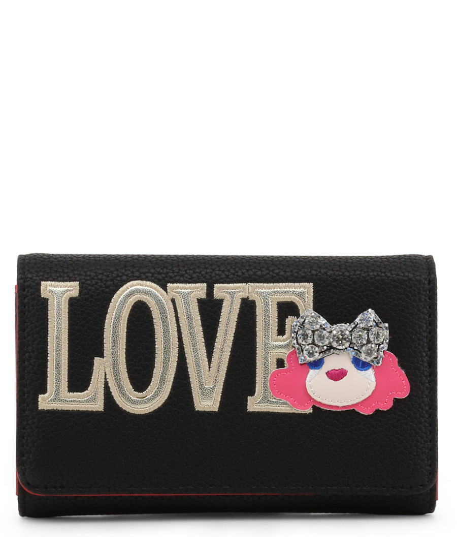 Love black faux-leather fold purse Sale - love moschino