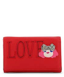 Love red faux-leather fold purse