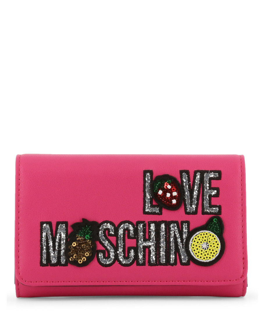 pink faux-leather patch logo zip purse Sale - love moschino