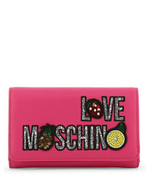 pink faux-leather patch logo zip purse
