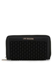 black faux-leather tile zip purse