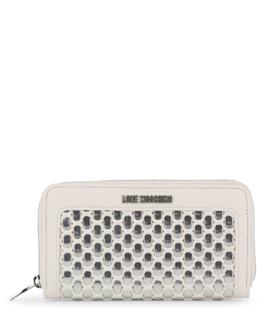 silver-tone faux-leather tile zip purse Sale - love moschino