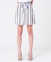 grey stripe cotton blend waist-tie skirt