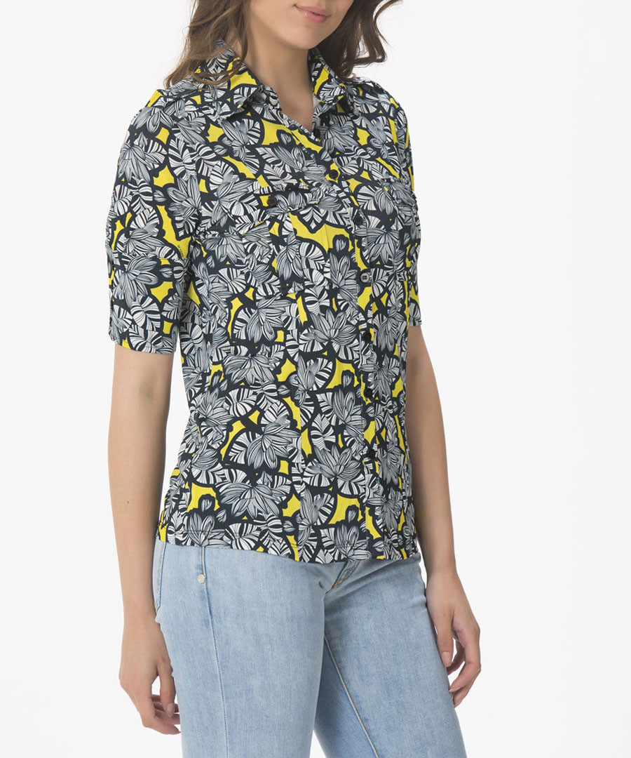 Yellow clusters collared shirt Sale - gianfranco ferre